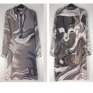 Burberry Dresses - Burberry Silk Abstract Print Shirt Dress EU42/US8